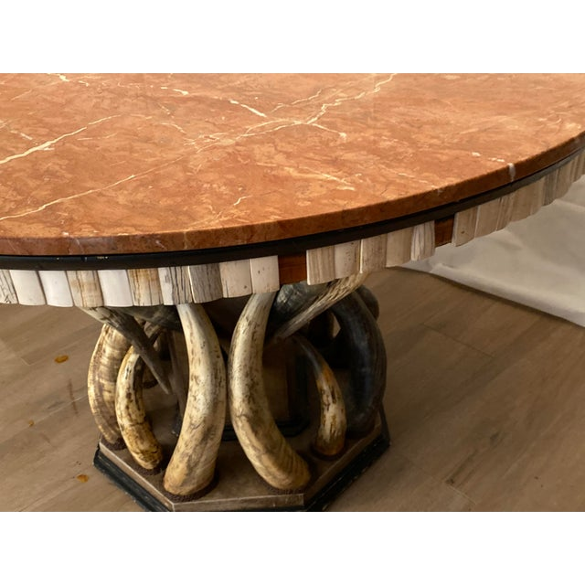 Contemporary Table With Marble Top and Horns Base Signed by Anthony Redmile For Sale In West Palm - Image 6 of 8