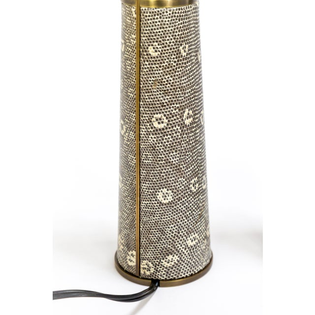 Lizard Skin & Bronze Borrego Lamps by Tuell + Reynolds - a Pair For Sale - Image 10 of 12
