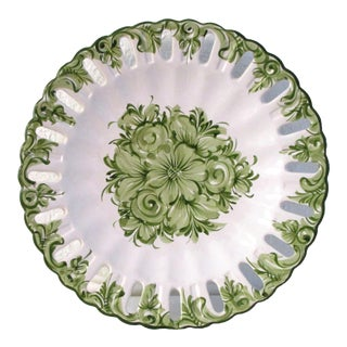 Vintage Portuguese Green Floral Serving Plate For Sale