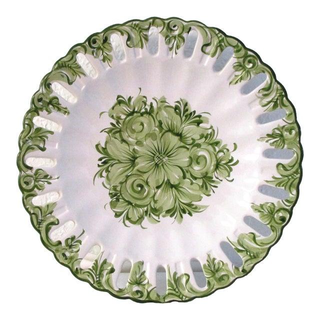 Vintage Portuguese Green Floral Serving Plate For Sale