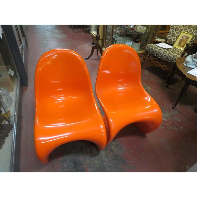 Orange Vintage Vitra for Herman Miller Mid-Century Modern Orange Verner Panton S Chairs - a Pair For Sale - Image 8 of 13