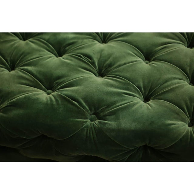 Room & Board Large Tufted Green Velvet Ottoman For Sale - Image 4 of 7