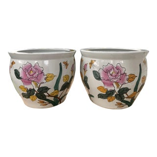 Vintage Chinese Floral Fish Bowl Jardiniere Planters - a Pair For Sale