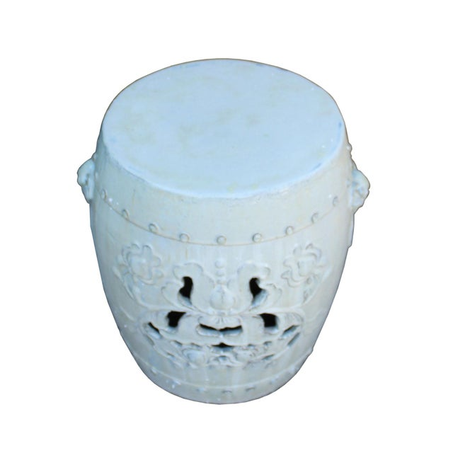 Chinese Off White Round Lotus Clay Ceramic Garden Stool Table For Sale - Image 5 of 6