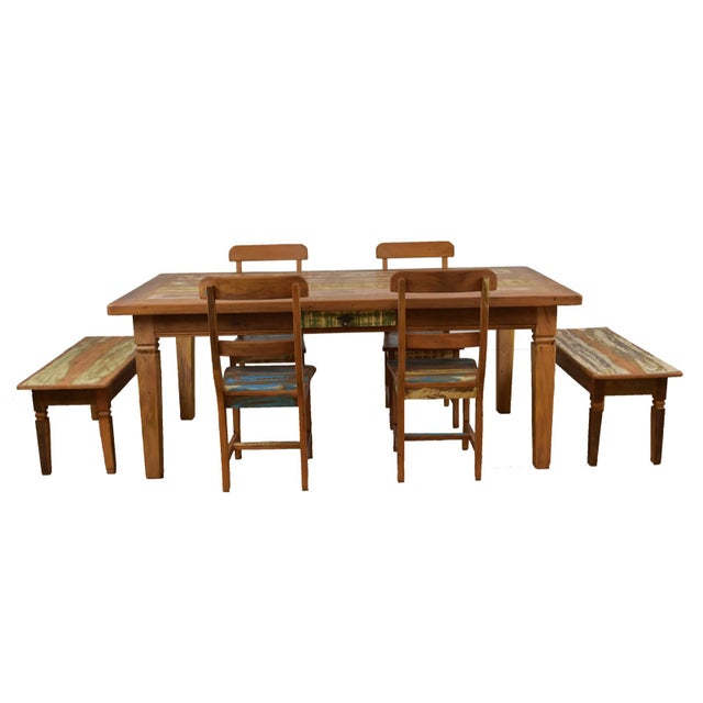 2010s 7 Piece Reclaimed Wood Dining Set For Sale - Image 5 of 5