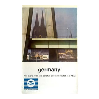 "Rare Vintage Mid Century "" Klm Germany "" Collector's Lithograph Print Dutch Airline Travel Poster For Sale"
