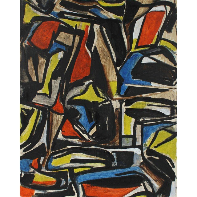 This mid 20th century paint on masonite abstract in red, yellow, and blue, is by Vienna and San Francisco/Bay Area artist,...