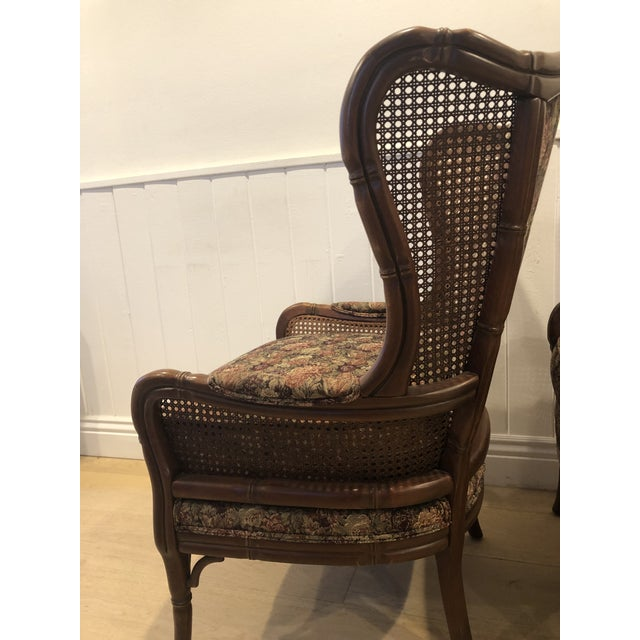 1990s 1990s Vintage Ethan Allen Faux Bamboo Rattan Cane Wingback Arm Chairs- A Pair For Sale - Image 5 of 12
