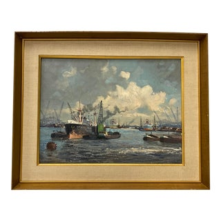 Mid Century Modern Ship Yard Oil Painting C.1950 For Sale