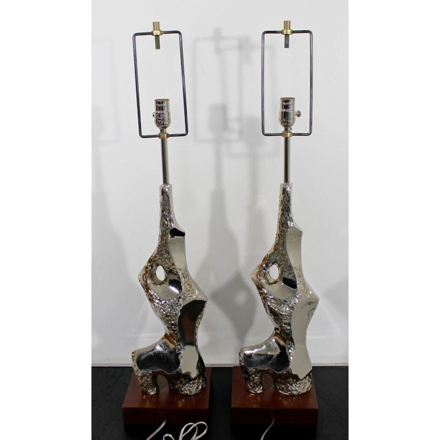 1970s Mid Century Modern Brutalist Nickel Table Lamps Richard Barr for Laurel - a Pair For Sale In Detroit - Image 6 of 9