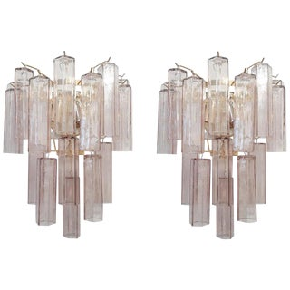 Pair of Amethyst Murano Sconces by Fabio Ltd For Sale