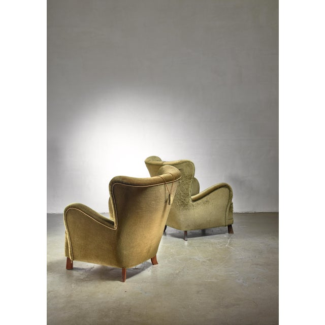 Mid-Century Modern Pair of Green Otto Schulz Lounge Chairs, Sweden, 1930s For Sale - Image 3 of 6