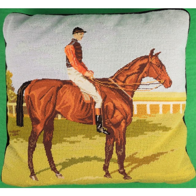 A Petit-Point English pair of jockey needlepoint pillows.
