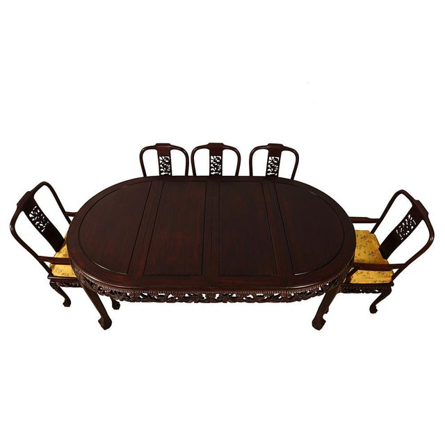 Asian 20th Century Chinese Carved Rosewood Dragon Dining Set For Sale - Image 3 of 13