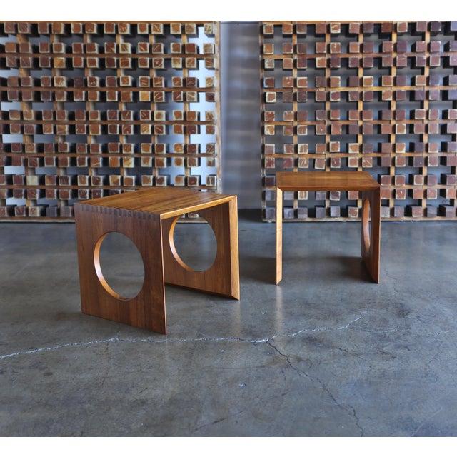 Danish Modern 1960s Peter Hvidt for Richard Nissen Cube Nesting Tables - a Pair For Sale - Image 3 of 12
