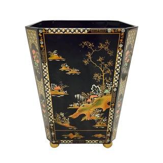 "Vintage Baret Ware England Chinoiserie ""China Gardens"" Waste Basket For Sale"
