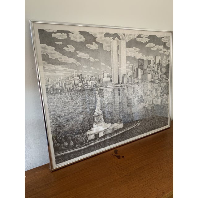 Vintage New York City Pen and Ink Drawing For Sale - Image 4 of 8