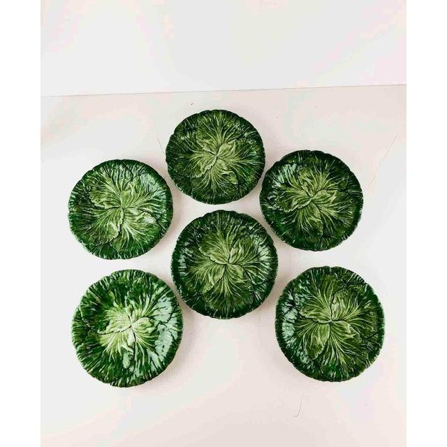 Vintage Vietri Italy Lettuce Leaf Plates – Set of 6 For Sale - Image 11 of 12