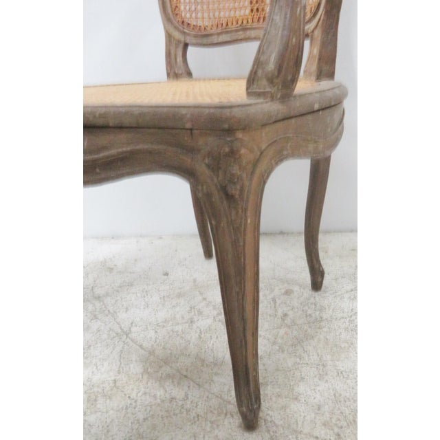 French Style Antique Caned Distressed Chair - Image 3 of 9