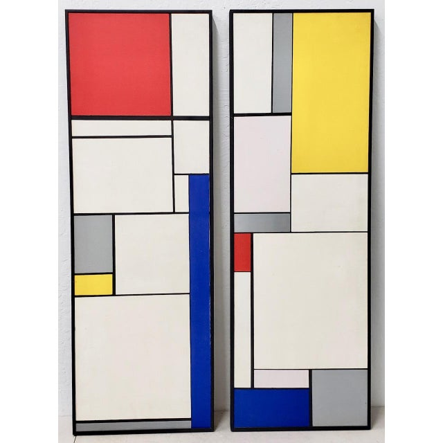 Mid-Century Geometric Abstract Paintings C.1950s - a Pair For Sale - Image 10 of 10