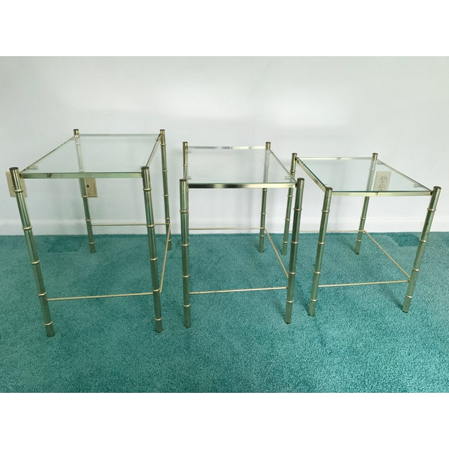 1970s Vintage Glass Top and Metal Nesting Tables- Set of 3 For Sale - Image 5 of 13