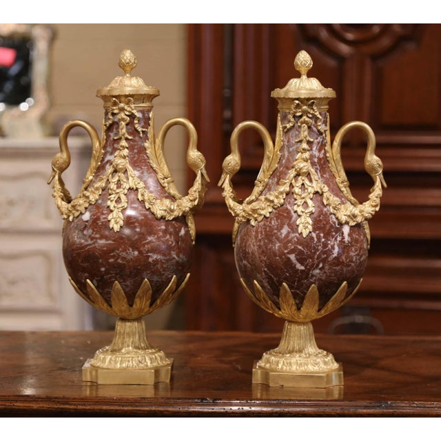 19th Century French Carved Variegated Marble and Gilt Bronze Cassolettes-a Pair For Sale - Image 9 of 9
