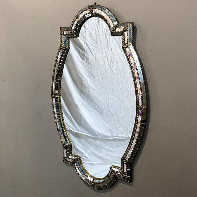 Mid-Century Venetian Style Mirror With Gilt Brass Accents For Sale - Image 4 of 12