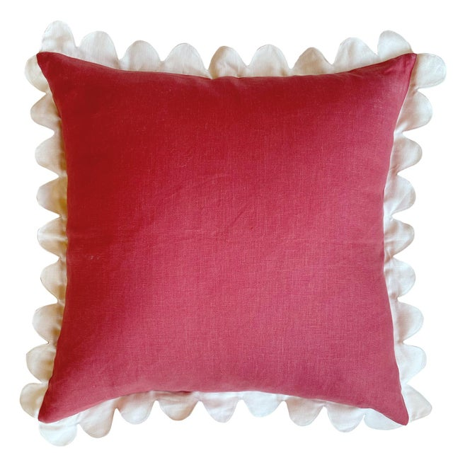 French Country Carly Home Red & Ivory Linen Scalloped Pillow For Sale - Image 3 of 3