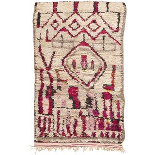 Vintage Moroccan Colorful Wool Rug - 3′5″ × 5′9″ For Sale