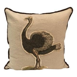 Safari Linen & Cotton Applique Ostrich Pillow For Sale