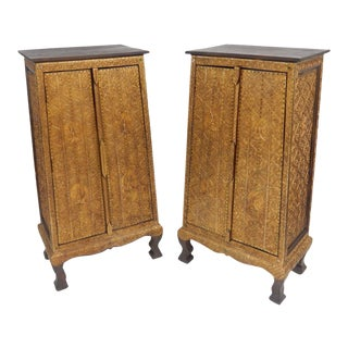 Thai Solid Teak Gilt Wood With Stones Tapered Cabinets - a Pair