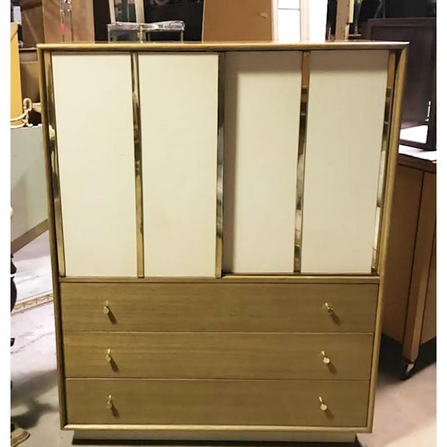 Harvey Probber Bleached Mahogany & Ivory Leather Tall Cabinet For Sale - Image 10 of 12