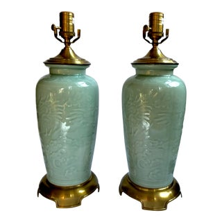 Vintage Wildwood Chinoiserie Celadon and Brass Lamps - a Pair For Sale