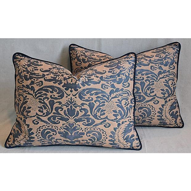 "Italian Mariano Fortuny Corone Feather/Down Pillows 24"" x 18"" - Pair For Sale - Image 10 of 11"