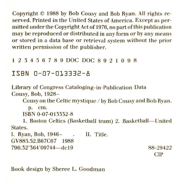 """Booth & Williams 1988 """"Signed Edition, Cousy on the Celtic Mystique"""" Collectible Book For Sale - Image 4 of 6"""