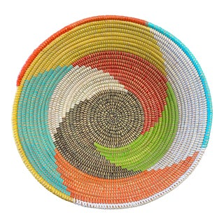 """Lg Woven Wolof Basket From Senegal 17.25"""" D For Sale"""