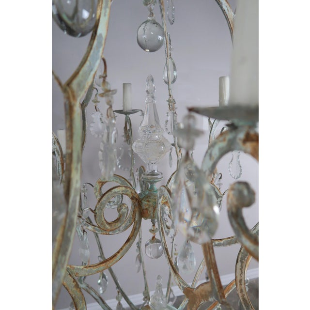 1930s Monumental Painted Wrought Iron Crystal Chandelier For Sale - Image 5 of 11
