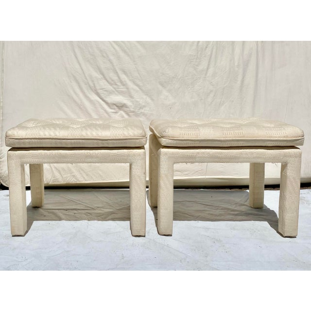 Textile Vintage Late 20th Century Milo Baughman Style Parsons Cream Upholstered Benches - a Pair For Sale - Image 7 of 7