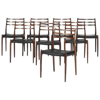 Set of Eight Model 78 Rosewood Chairs by Niels O. Moller, Denmark, 1960s For Sale