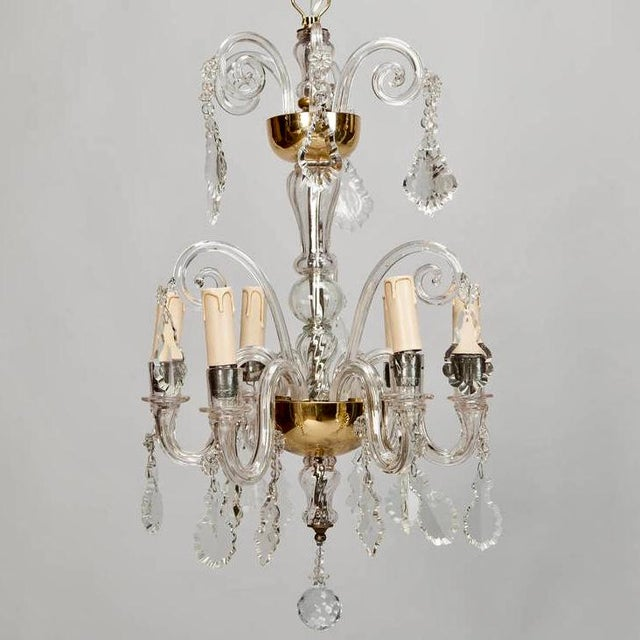 French Tiered All Crystal Six Light Chandelier c.1920 - Image 2 of 9