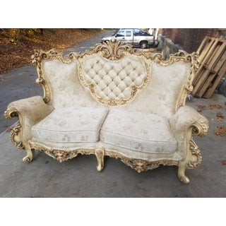 Vintage Carved Wood Baroque Ivory and White Sofa Preview