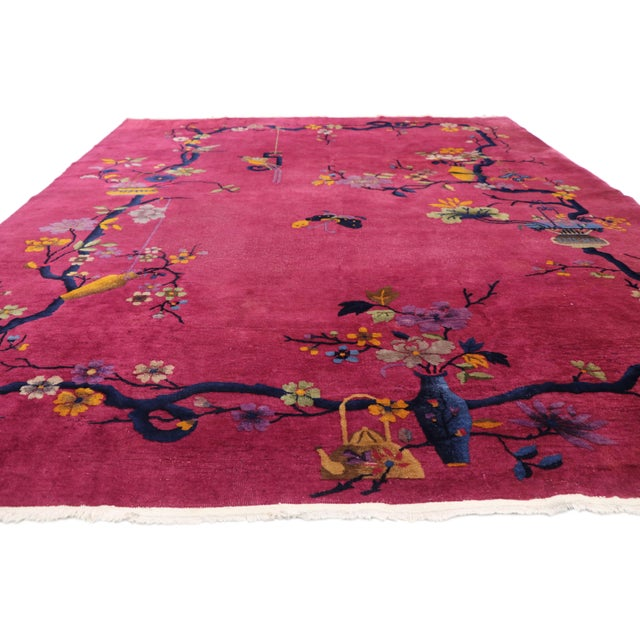 Art Deco 1920s Antique Chinese Art Deco Rug - 8′10″ × 11′7″ For Sale - Image 3 of 10
