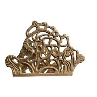 1980s Art Nouveau Brass Letter Organizer For Sale