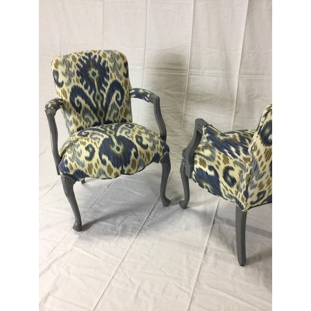 Gray Lacquered Cabriole Leg Chairs Reupholstered in Kravet - A Pair For Sale - Image 9 of 11