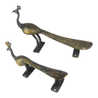 Antique Brass Peacock Door Handles - A Pair