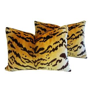 "24"" X 18"" Scalamandre Italian ""Le Tigre"" Tiger Stripe & Mohair Feather/Down Pillows- Pair"