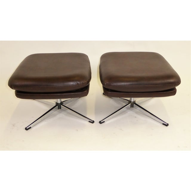 1970s Overman Swivel Foot Stools Benches in Dark Brown Leatherette- A Pair For Sale In Miami - Image 6 of 13