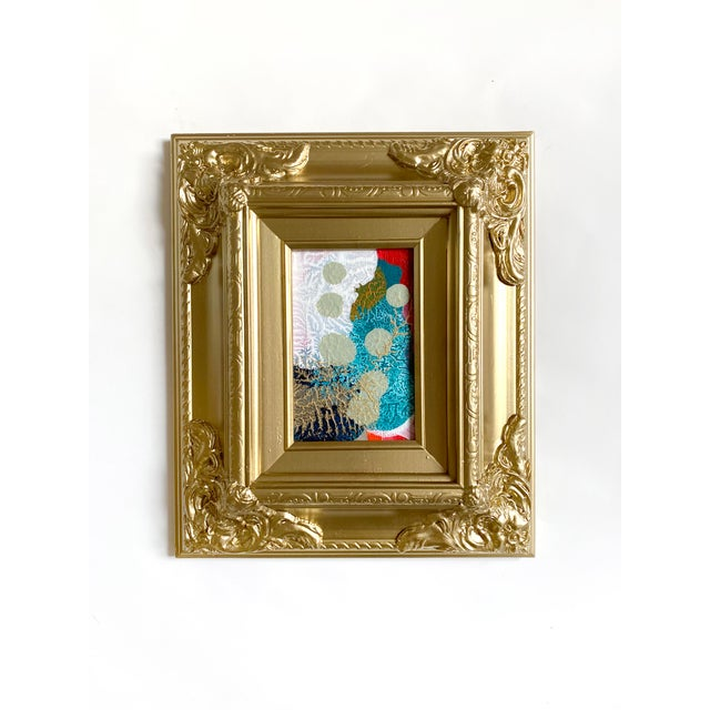 Contemporary Sage Dots Mini Painting With Ornate Gold Frame For Sale - Image 3 of 3