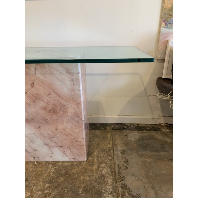 Contemporary 1970s Pink Marble Console With Thick Glass Top For Sale - Image 3 of 9
