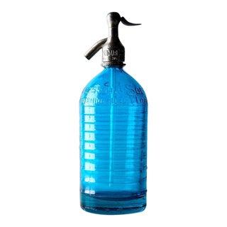 1930's Vintage Decorative Blue Seltzer Bottle For Sale